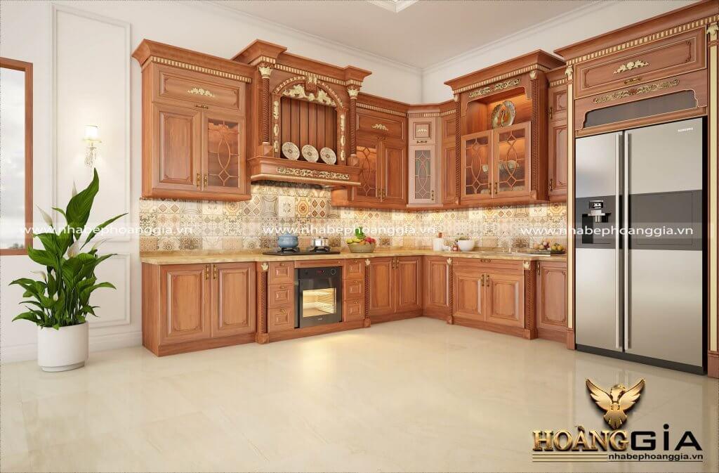 tủ bếp dát vàng