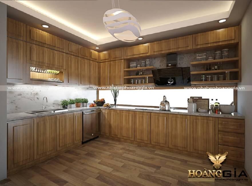 tủ bếp gỗ sồi Mỹ