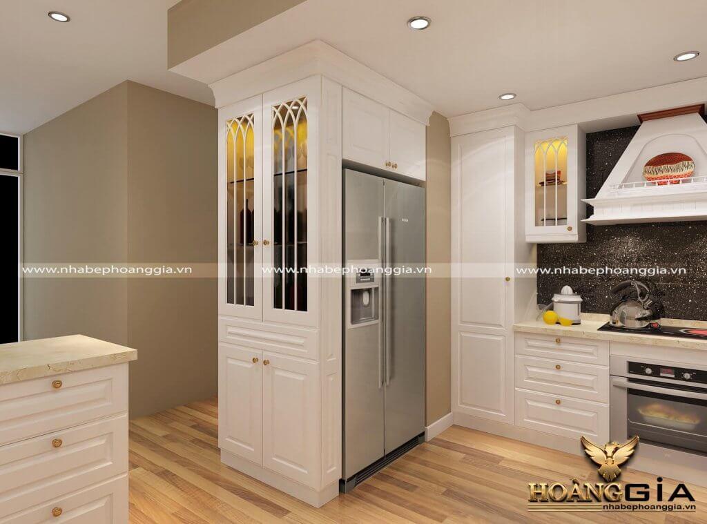 tủ bếp sơn trắng