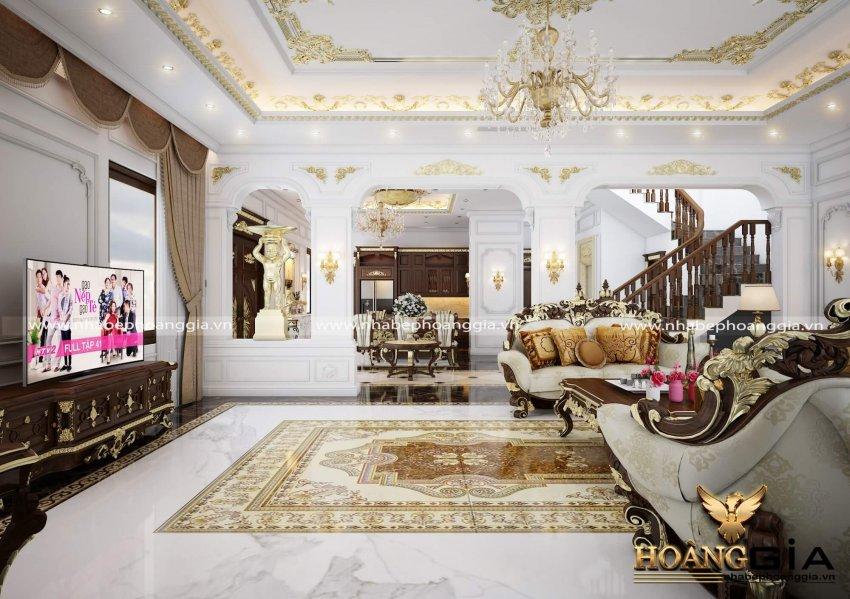 mẫu phòng khách đẹp có cầu thang
