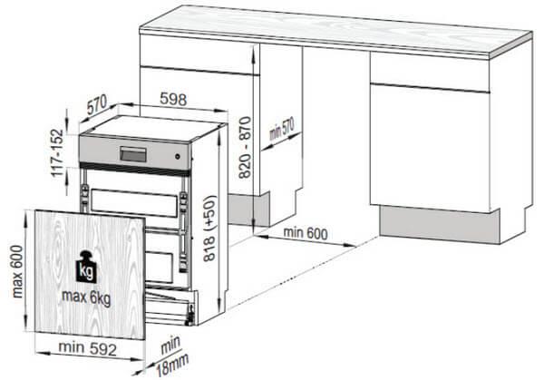 kích thước máy rửa bát