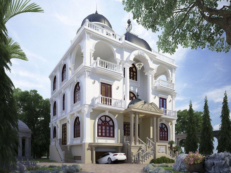 mẫu biệt thự 5 tầng kiểu Pháp