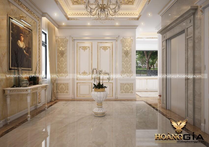 thiết kế nội thất tân cổ điển sơn trắng