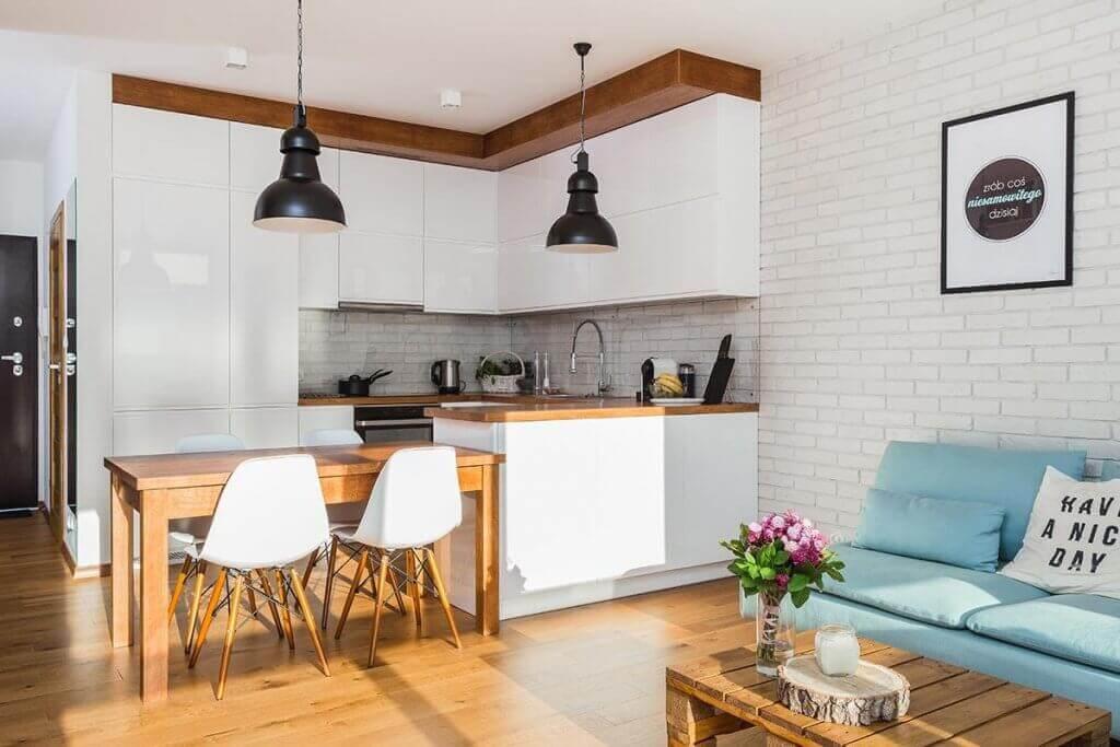 thiết kế phòng khách kết hợp với phòng ăn