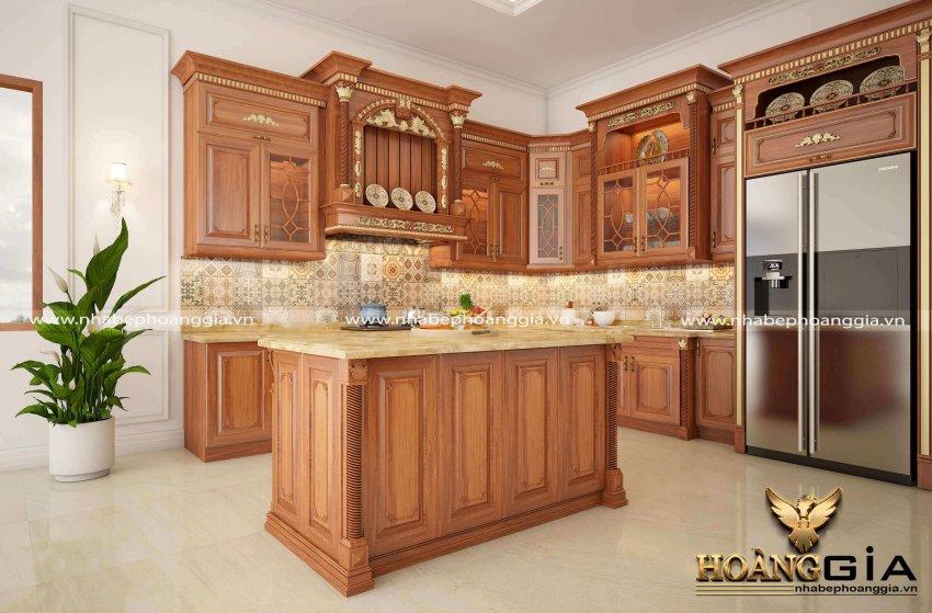 mẫu thiết kế tủ bếp có bàn đảo
