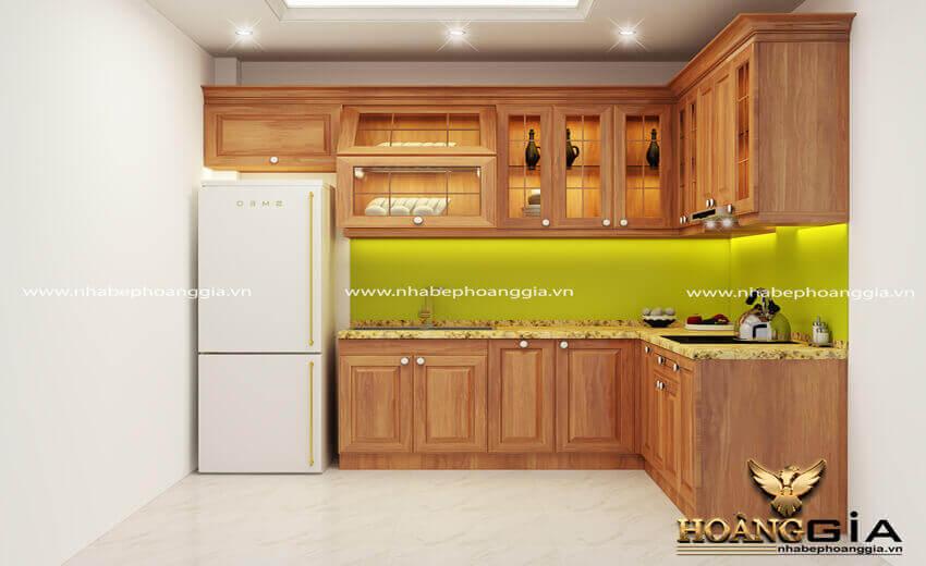 mẫu tủ bếp chữ L đẹp 2021