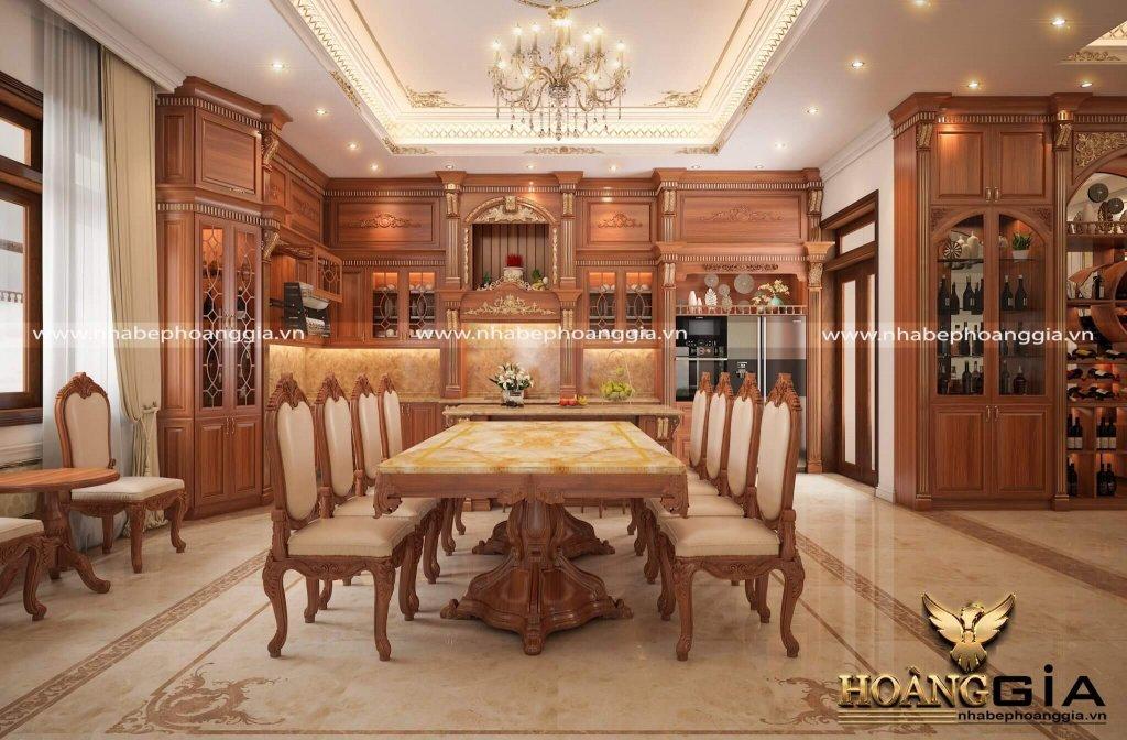 Mẫu tủ bếp hoàng gia dát vàng đẳng cấp