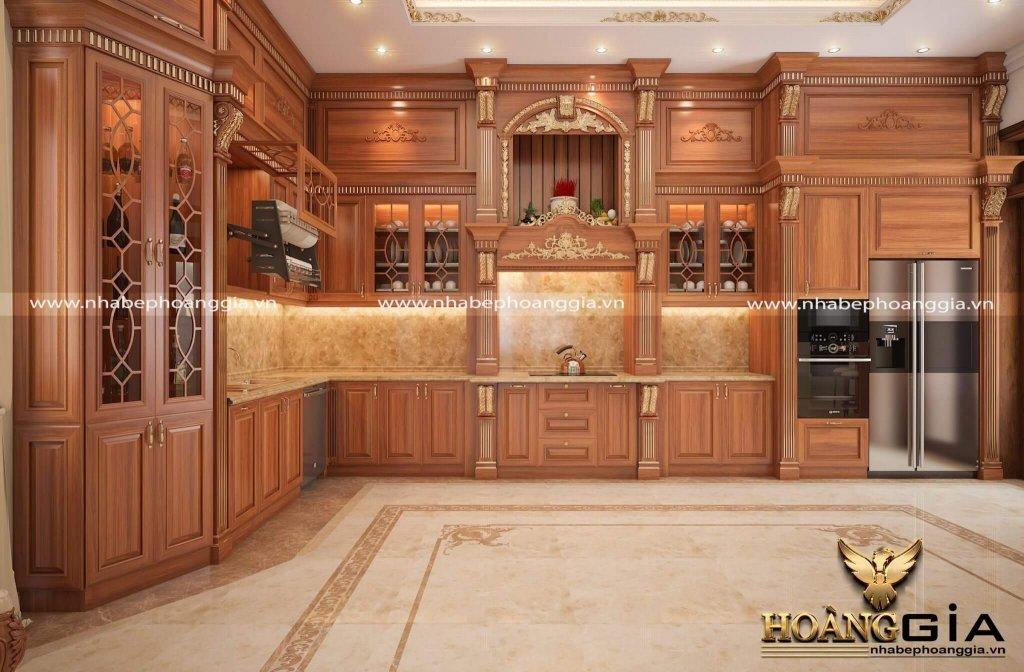 Mẫu tủ bếp có bàn thờ ông Táo