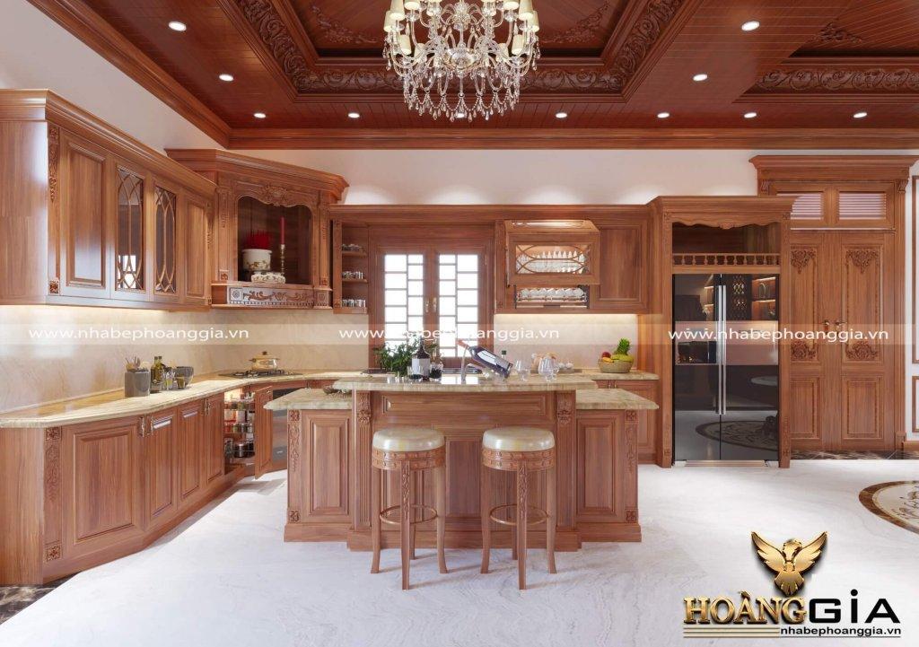 Mẫu tủ bếp tân cổ điển có bàn thờ Táo Quân