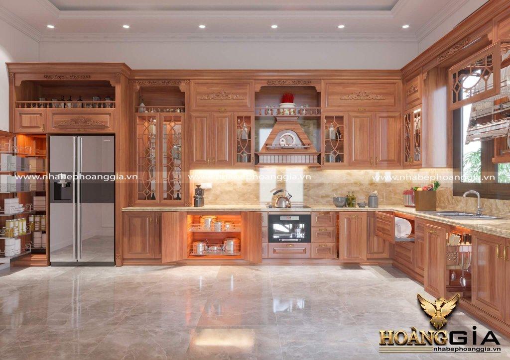 Mẫu tủ bếp gỗ gõ đỏ có bàn thờ ông Táo
