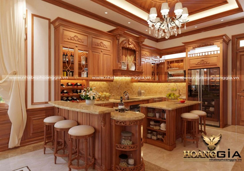 Mẫu tủ bếp kết hợp quầy bar