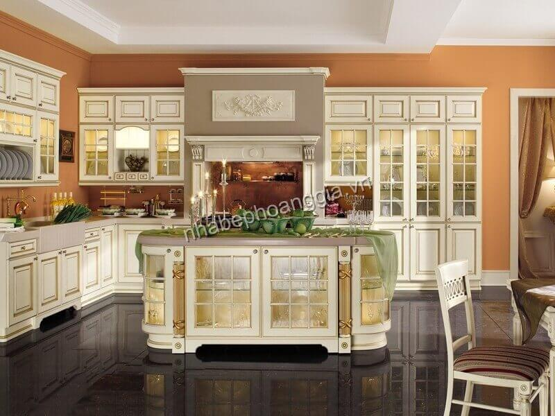 mẫu tủ bếp gỗ tân cổ điển đẹp năm 2021