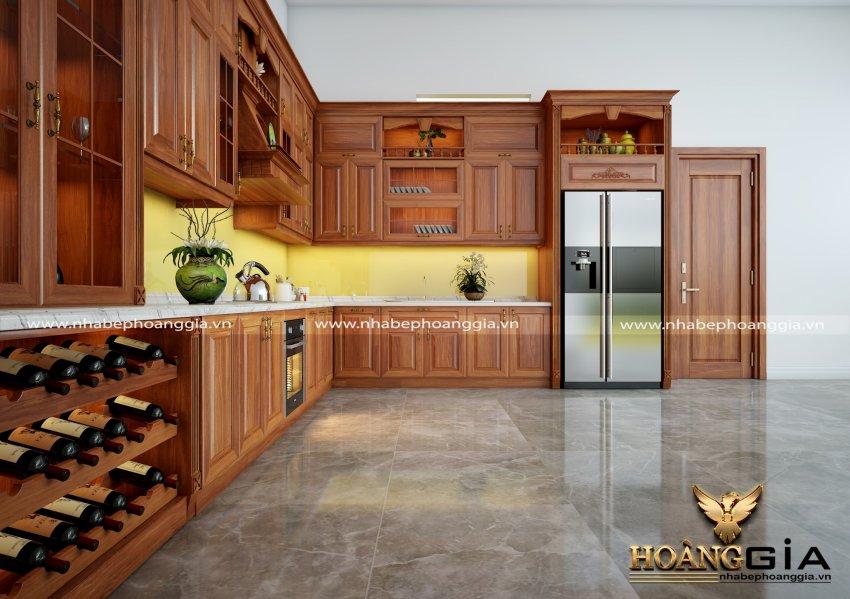 mẫu tủ bếp có tủ rượu