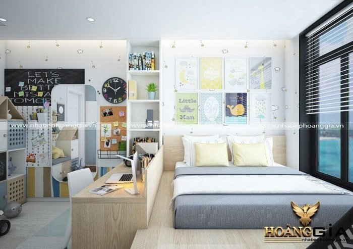 thiết kế phòng ngủ kết hợp phòng khách