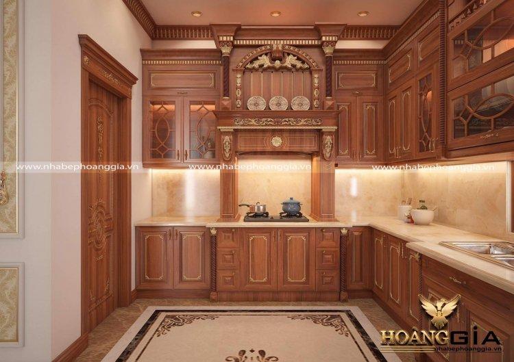 mẫu thiết kế nội thất phòng bếp tân cổ điển cho biệt thự