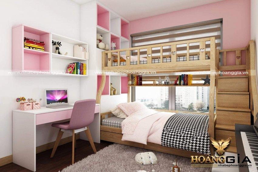 thiết kế nội thất phòng ngủ màu hồng 15m2