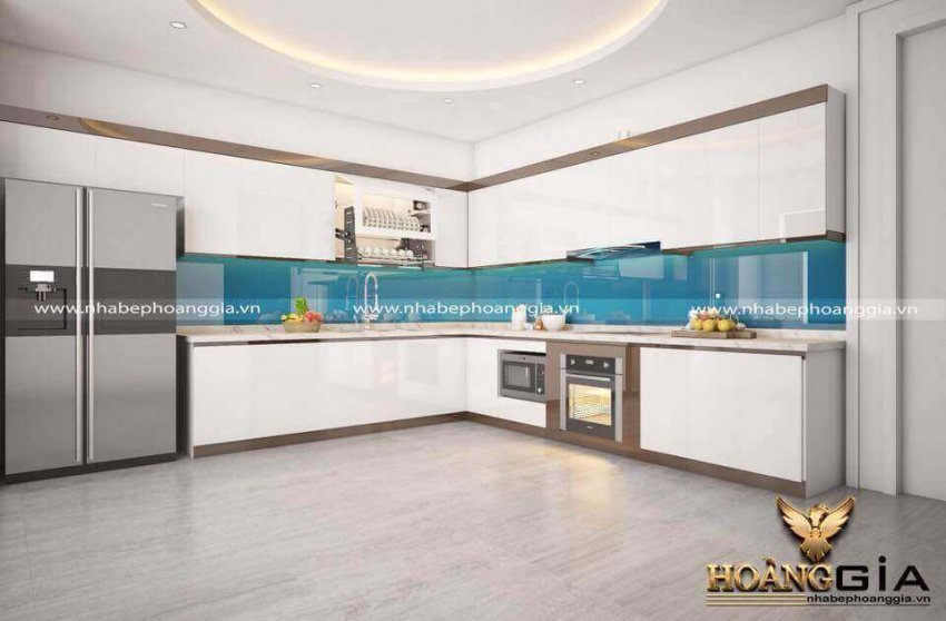 mẫu tủ bếp acrylic hiện đại 2021