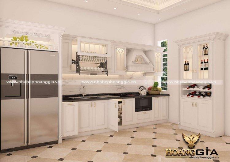 mẫu tủ bếp gỗ tự nhiên cho nhà nhỏ 2021