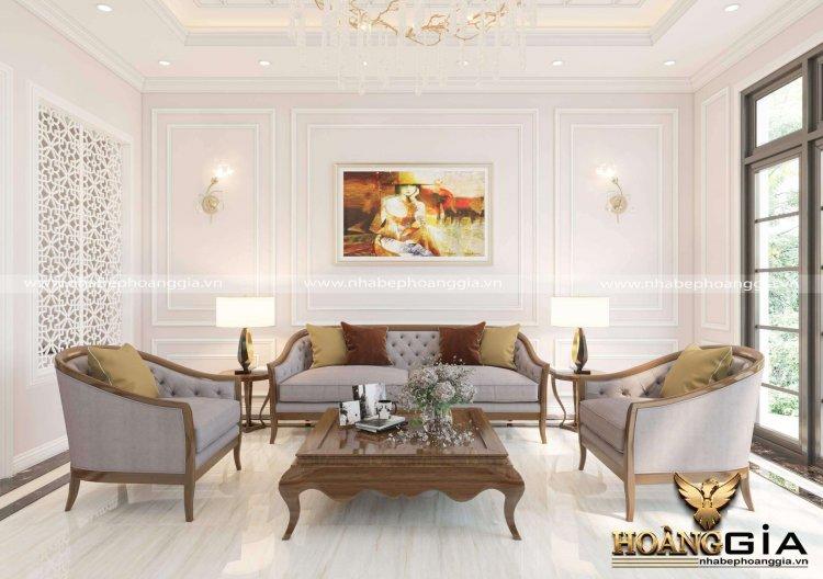 phòng khách tân cổ điển đơn giản cho biệt thự