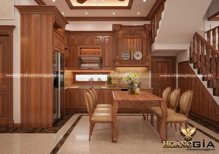 thiết kế tủ bếp gỗ gõ đỏ
