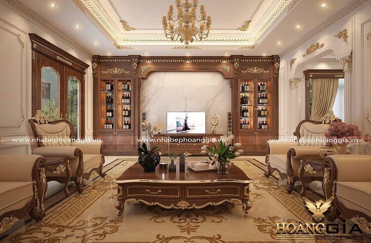 thiết kế kệ tivi phòng khách tân cổ điển