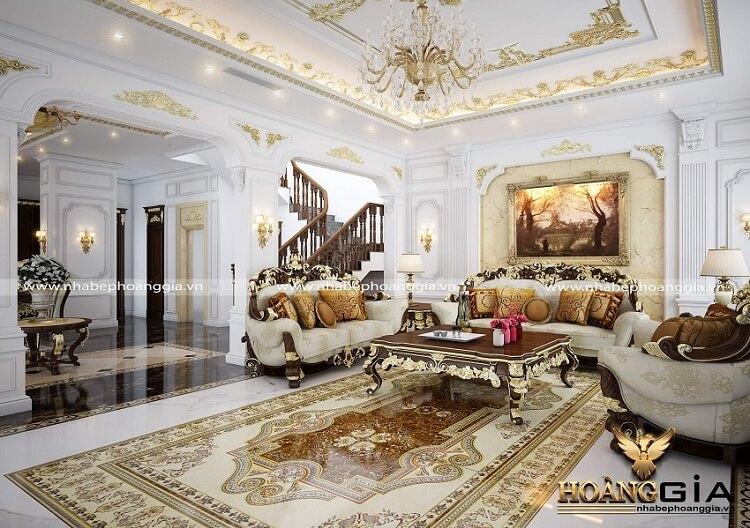 thiết kế phòng khách biệt thự tân cổ điển