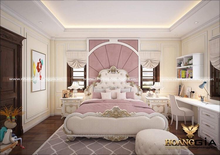 thiết kế giường ngủ tân cổ điển sơn trắng