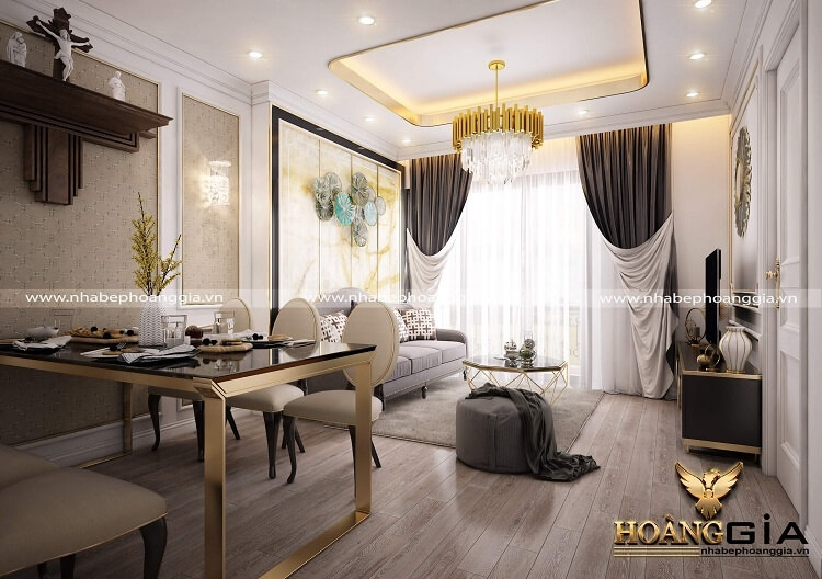 thiết kế phòng khách tân cổ điển nhà chung cư