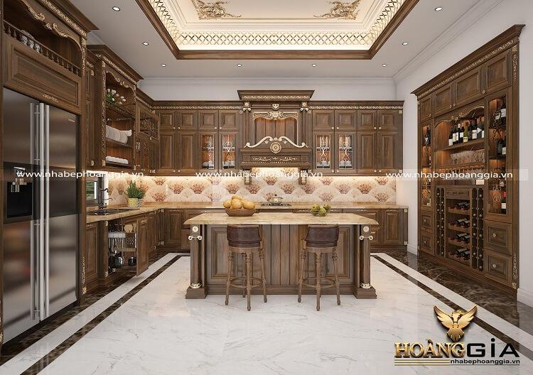 tủ bếp tân cổ điển đẹp 2020