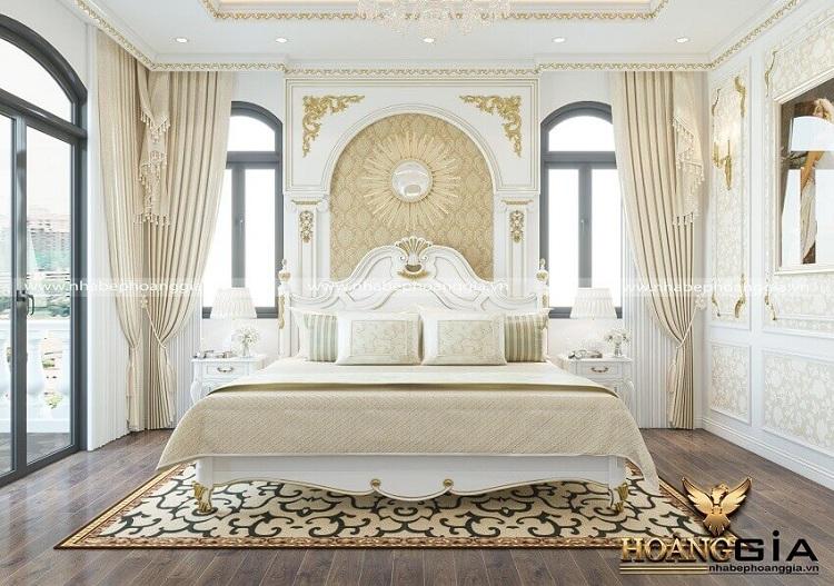 thiết kế giường gỗ tân cổ điển đẹp