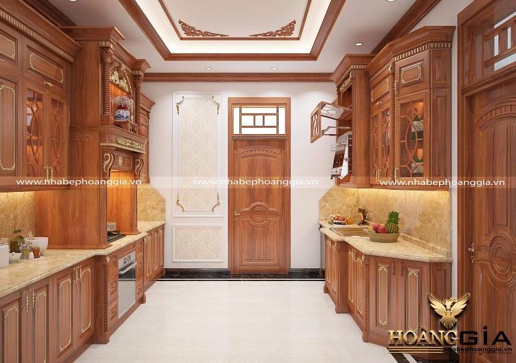 tủ bếp cao cấp gỗ tự nhiên