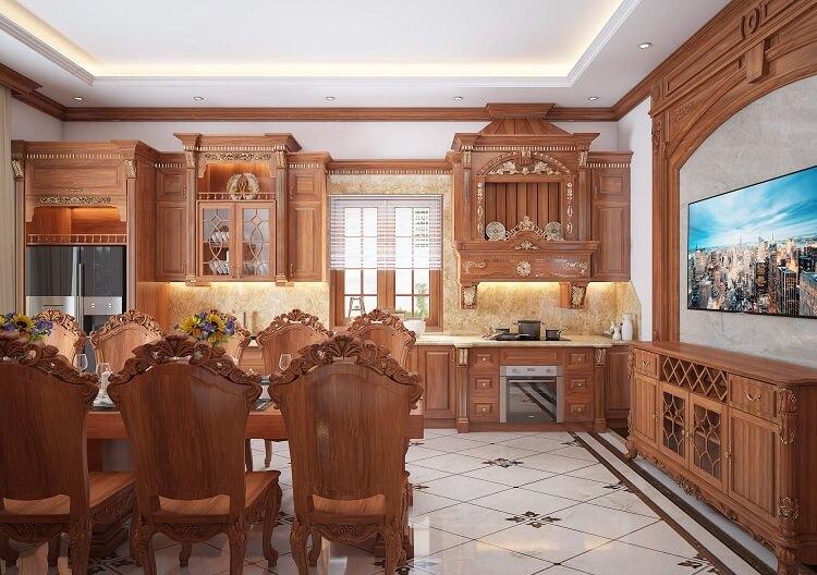 thiết kế phòng bếp ăn tân cổ điển gỗ tự nhiên