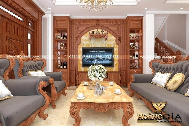 thiết kế phòng khách tân cổ điển nhà phố