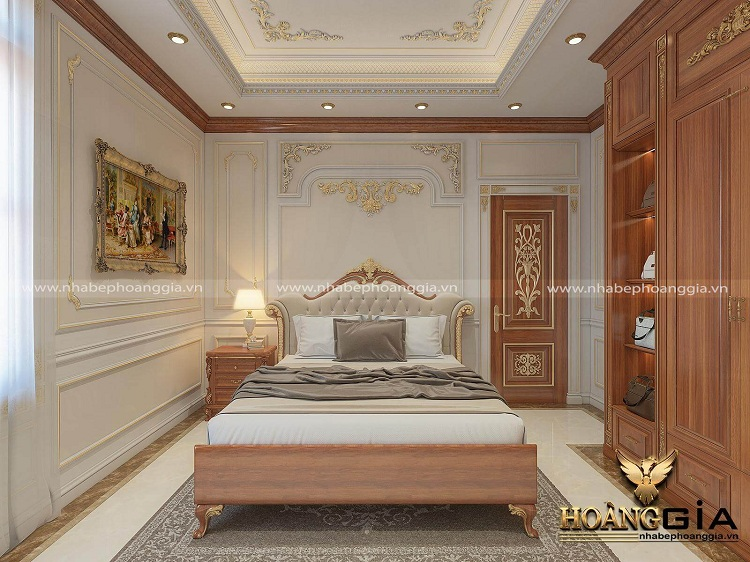 thiết kế phòng ngủ tân cổ điển gỗ tự nhiên