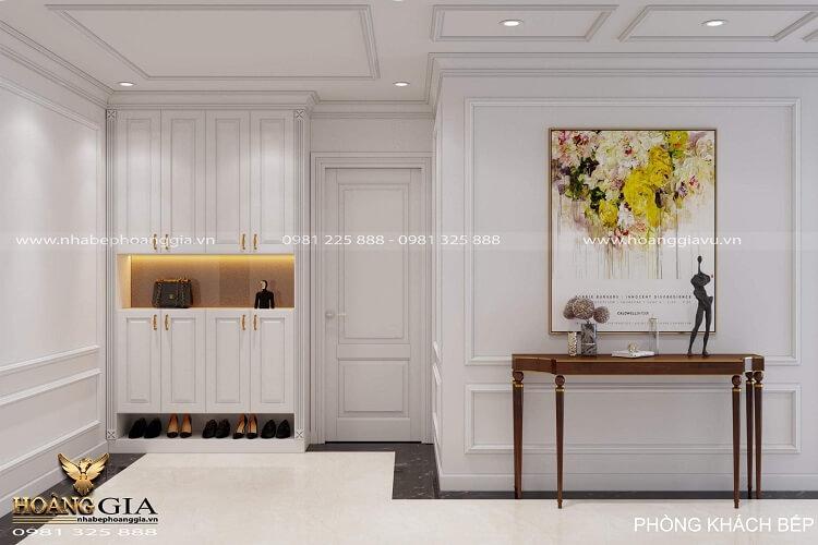 thiết kế phòng khách bếp tân chung cư tân cổ điển