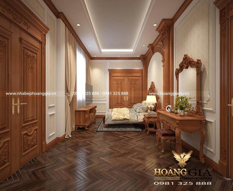 thiết kế nội thất tân cổ điển gỗ gõ đỏ