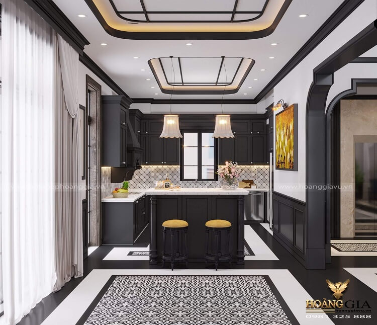 thiết kế phòng bếp phong cách Indochine