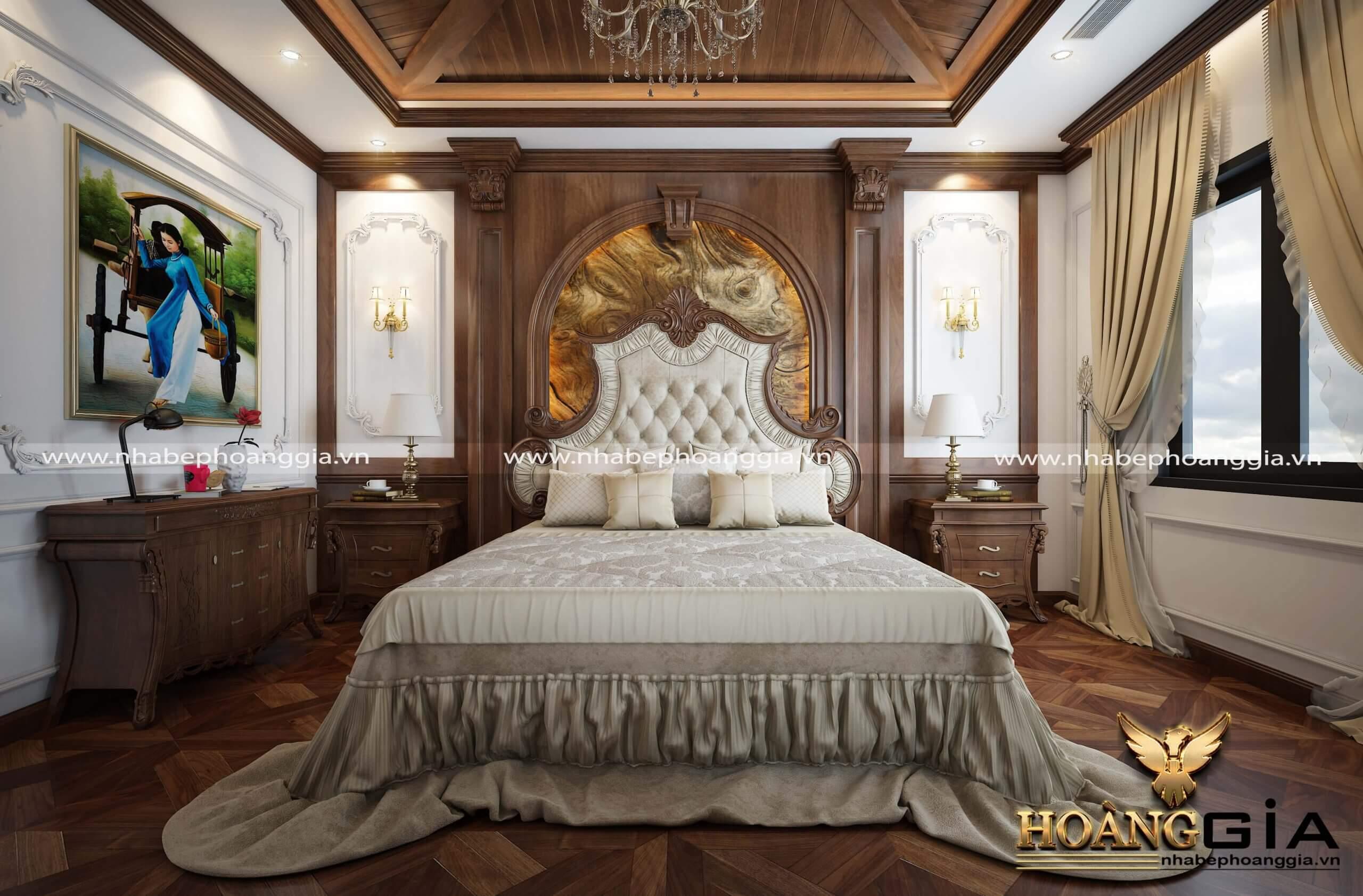 giường ngủ gỗ gõ cao cấp