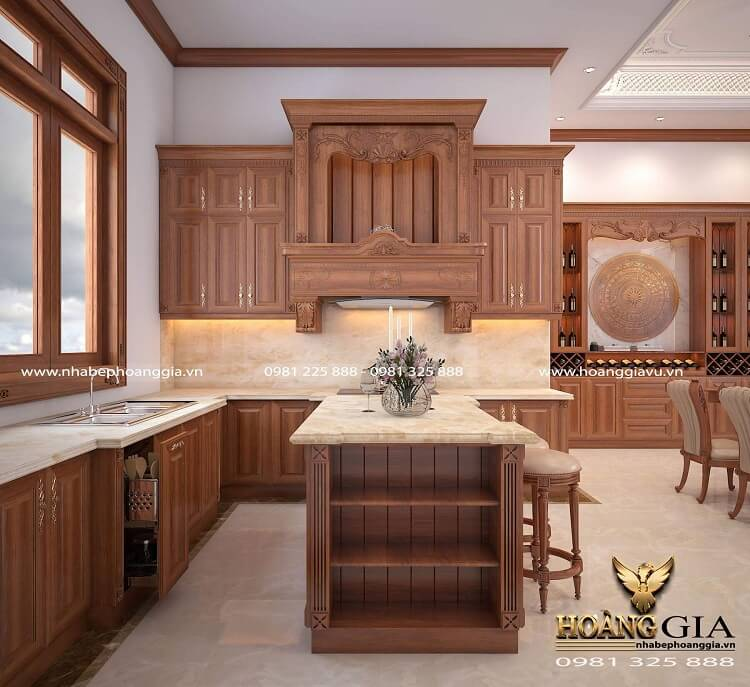 kích thước tủ bếp gỗ