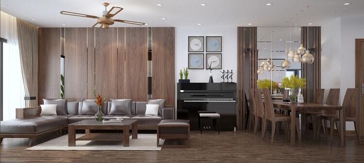 thiết kế phòng khách gỗ óc chó đẹp