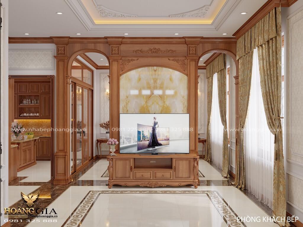 thiết kế nội thất tân cổ điển gỗ gõ đỏ nhẹ nhàng