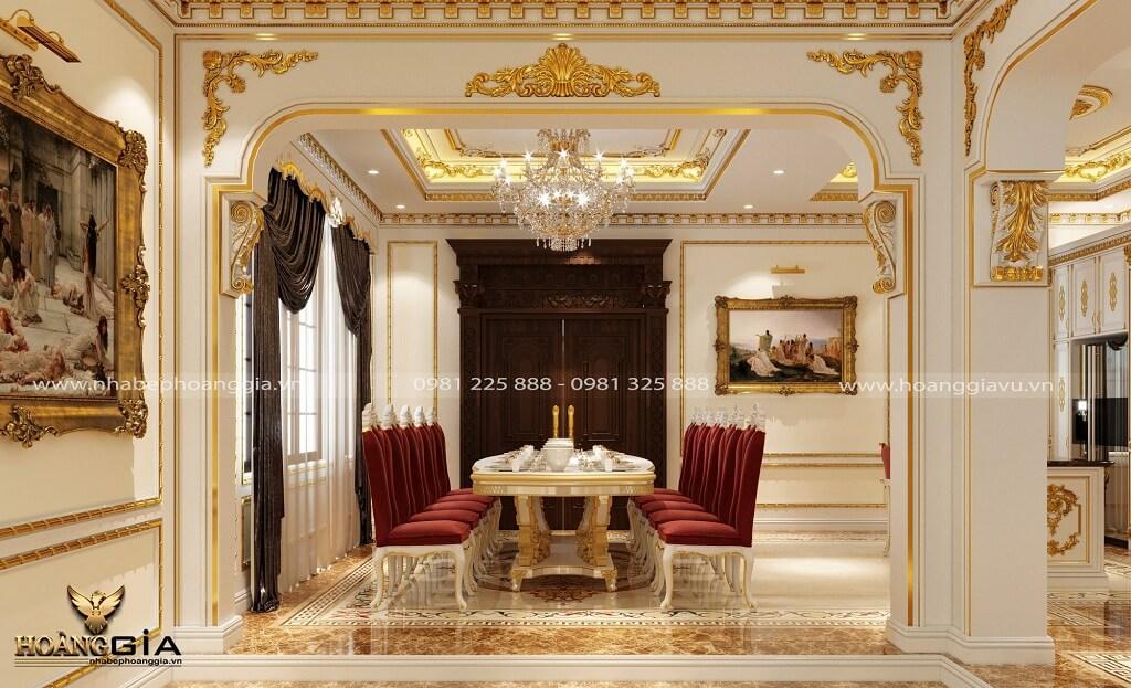 thiết kế phòng bếp ăn hoàng gia