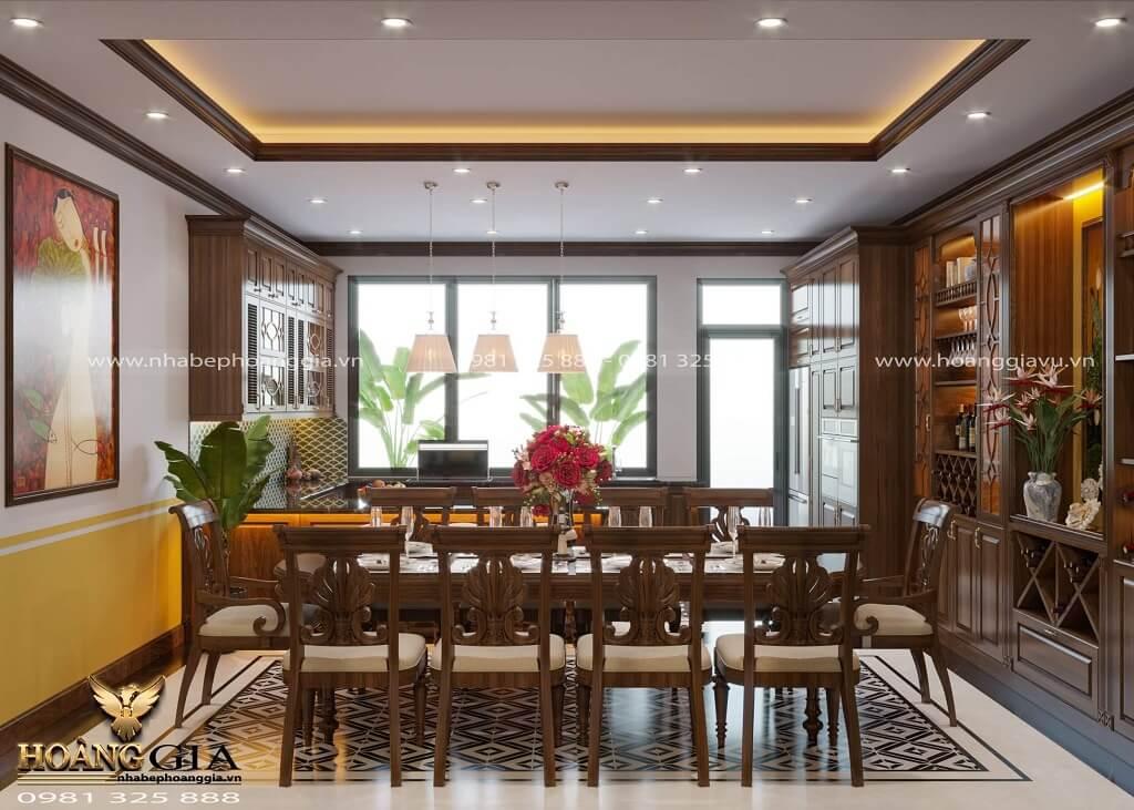 thiết kế phòng bếp tân cổ điển truyền thống