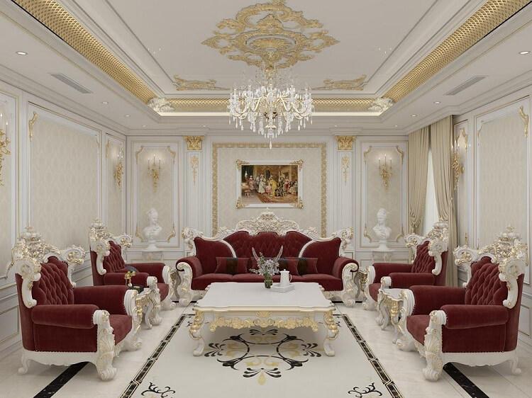 mẫu sofa gỗ gõ đỏ tân cổ điển đẹp