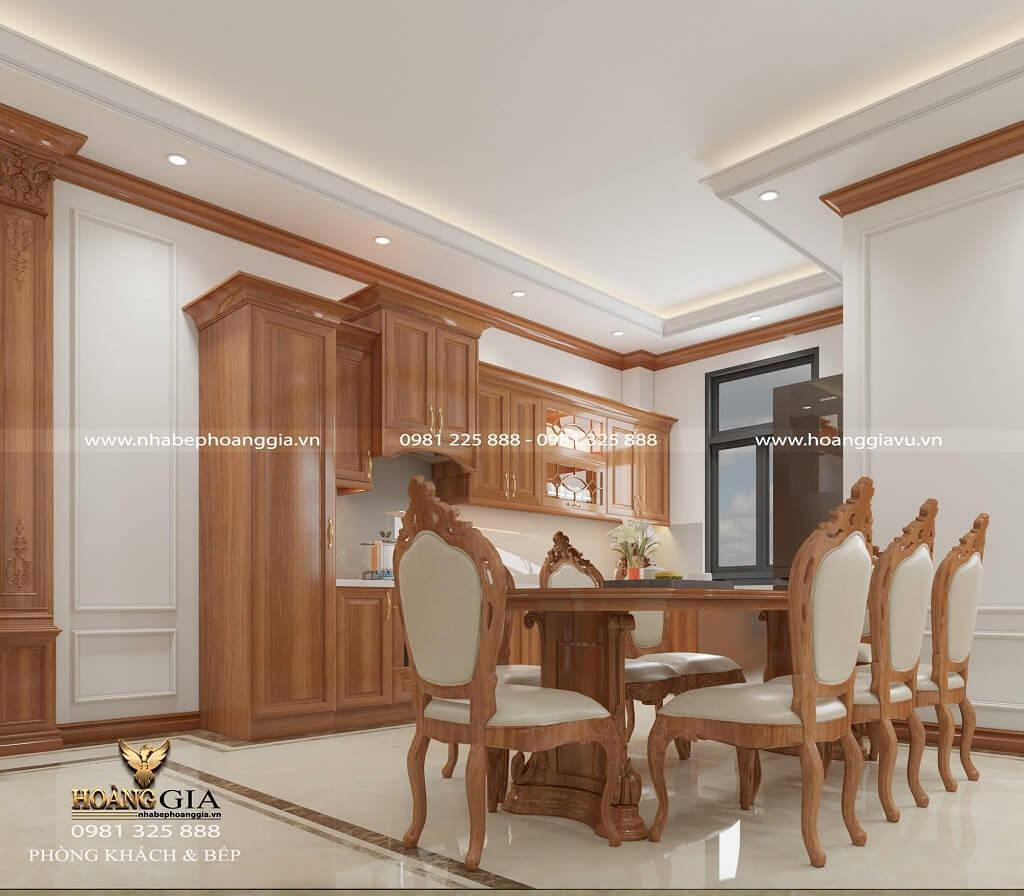 thiết kế nội thất phòng bếp tân cổ điển