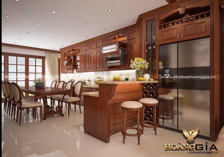mẫu tủ bếp có quầy bar đẹp