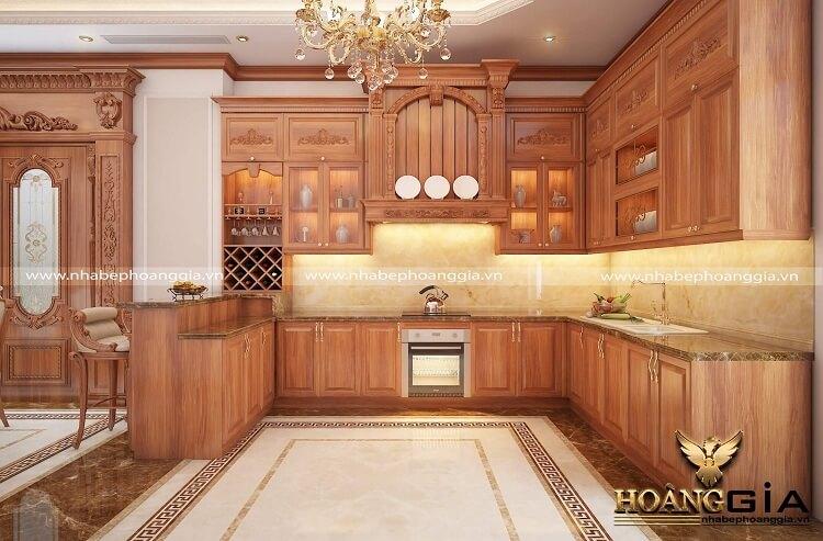 tủ bếp tân cổ điển gỗ gõ đỏ