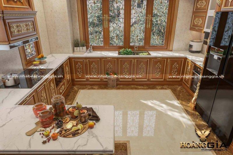 tủ bếp tân cổ điển dát vàng