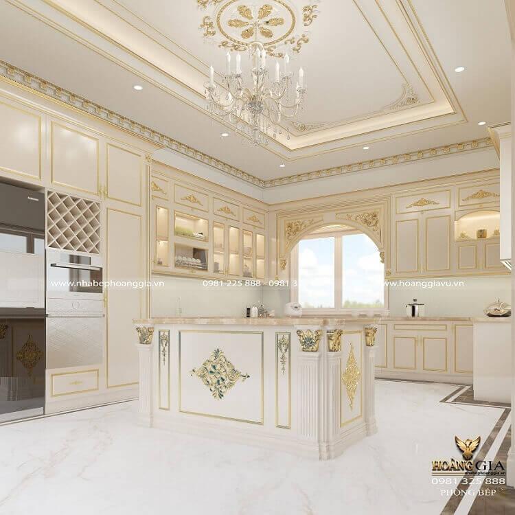 tủ bếp tân cổ điển sơn trắng dát vàng