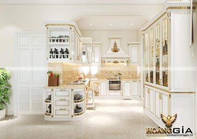Thiêt kế nội thất phòng bếp cổ điển dát vàng